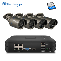 Techage 4CH 1080P POE NVR CCTV System 4PCS 720P 1MP POE IP Camera IR Night Vision