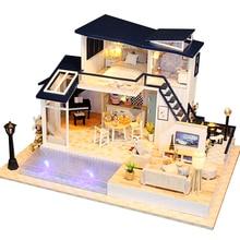 Кукольный дом деревянная мебель Diy миниатюрный дом собрать 3D Miniaturas кукольный домик головоломки наборы игрушки для детей подарок на день рождения