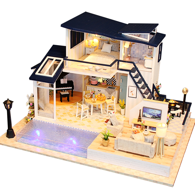 New Doll House Wooden Furniture Diy House Miniature Assemble 3D Miniaturas Dollhouse Puzzle Kits Toys For Children Birthday Gift
