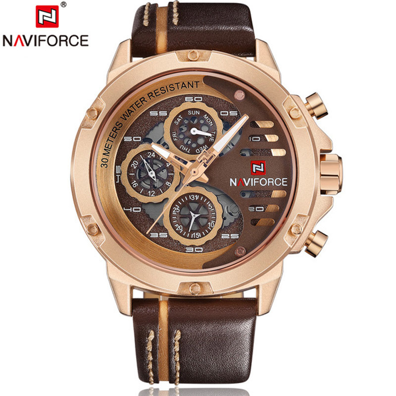 <font><b>NAVIFORCE</b></font> China Brand Man Watches Luxury Sports Quartz Watch Rectangle Dials 30M Waterproof Auto Date Red Leather Band 2018 image