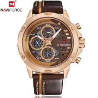 NAVIFORCE China Brand Man Watches Luxury Sports Quartz Watch Rectangle Dials 30M Waterproof Auto Date Red Leather Band 2018