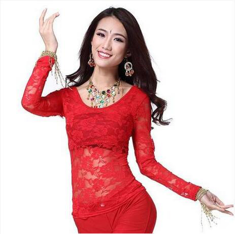 New Arrival Crystal Cotton And Lace Belly Dance Top Momen Vest+lace Long Sleeves 2pcs Belly Dance Tops Sexy Top 9 Colors