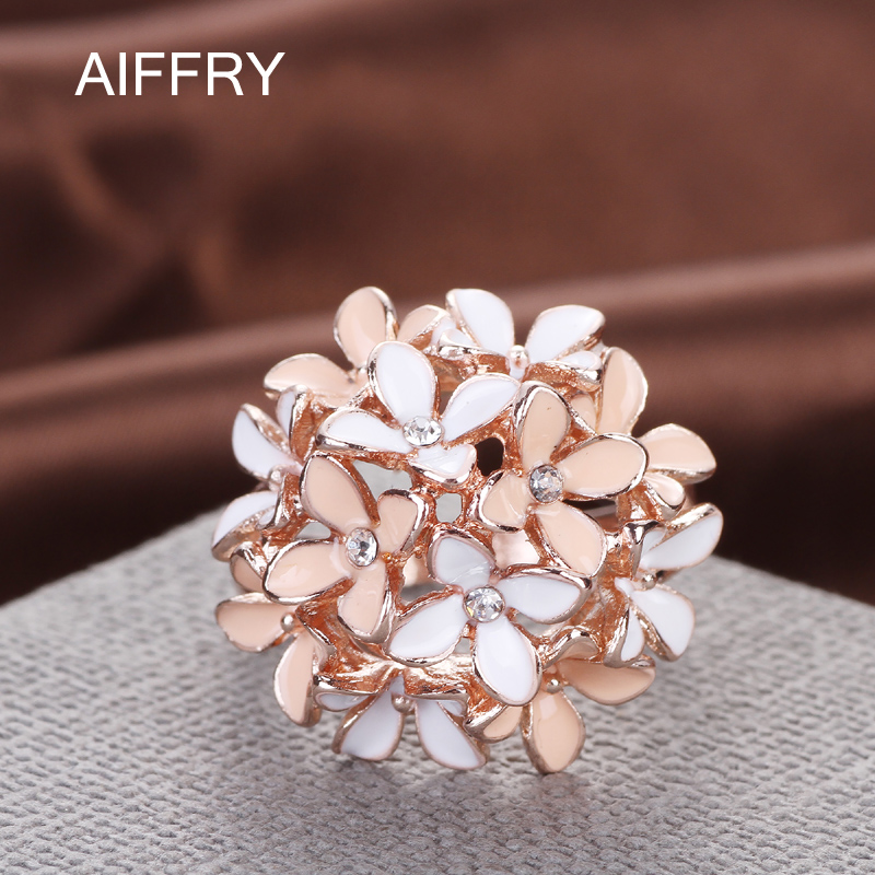 Aiffry Clove Rings 2016 Smykker Pink Flower Fashion Østerrikske Crystal Enamel Rose Gull Ringer For Women Anillos R2088