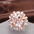 Aiffry  Clove Rings 2016 Jewelry Pink Flower Fashion Austrian Crystal Enamel Rose Gold Rings for Women anillos R2088
