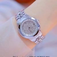 BS Famous Brand Diamond Dial Women Watches Ladies Dress Watch Girl Fashion Quartz Gold Filled Bracelet Watch Zegarek Damski
