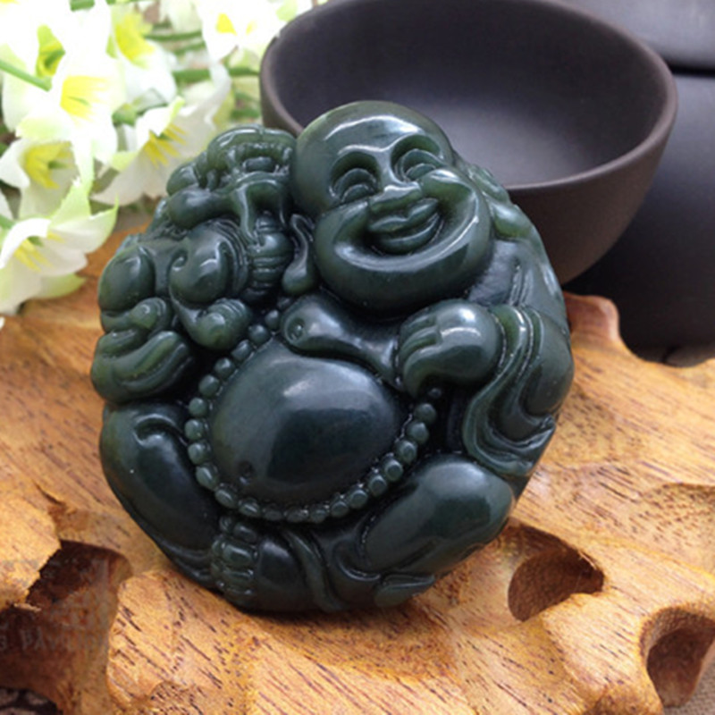 Natural Dark Green HETIAN Sapphire Jade Pendant Pot Bellied Buddha Maitreya Pendant Necklace Men Jade Jewelry