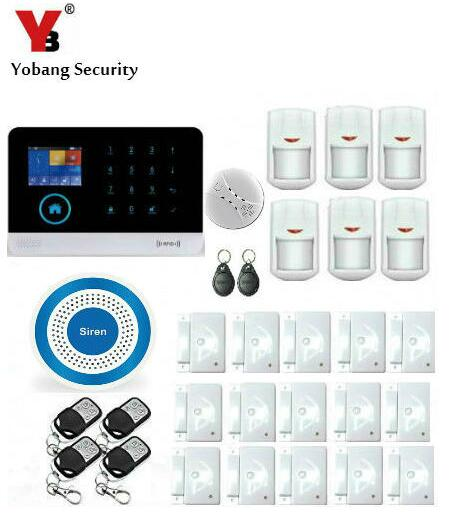 YoBang Security IOS Android APP For WIFI Wireless WCDMA/CDMA 3G LED Home Burglar Alarm System Control Smoke Detector 433MHZ.