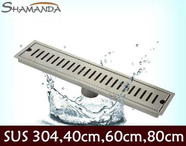ФОТО Free Shipping Bathroom 304 Stainless Steel Nickel Brushed 60cm Square Long Floor Drain Waste Grate  wholesale 24050