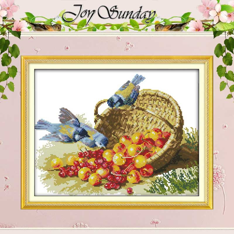 Burung dan Buah Corak Dihitung Cross Stitch 11 14CT Cross Stitch Set Borong Cina Cross-Stitch Kit Sulaman Needlework