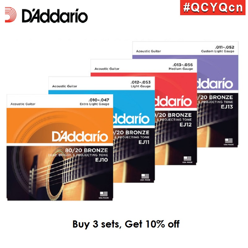 D'addario 80/20 Gangsa Acoustic Guitar Strings, Made in USA, EJ10 EJ11 EJ12 EJ13