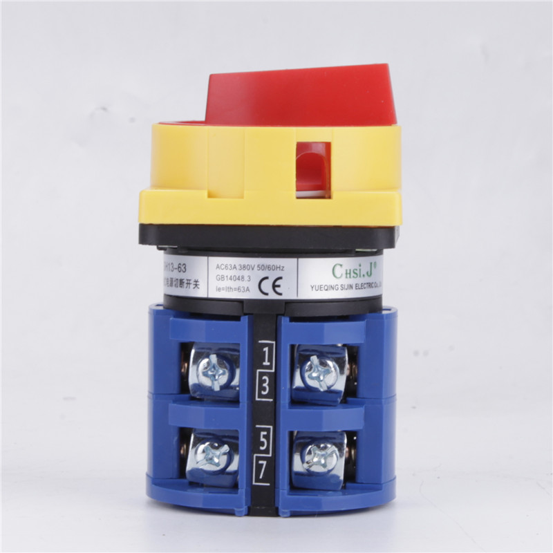LW26GS-63 63A Padlock Rotary Switch AC 440V Ui 690V OFF-ON 2 position 4 Poles 8 terminals Power Switch