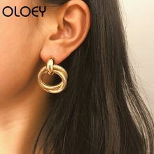 OLOEY Punk Style Earrings Women Simple Fashion Double-Layer Spiral Staggered Earring Jewelry Female Round Party