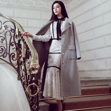 Ky&Q Spring Summer Sexy Mermaid Dress Women's Long Sleeves stand collar black bow white Lace Party Maxi Dress clubwear Dresses