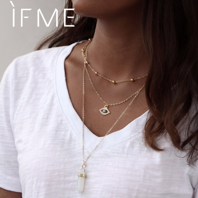 IF ME Multilayer Necklace for Women Long Chain Turkish Eye Pendant Necklaces Tre