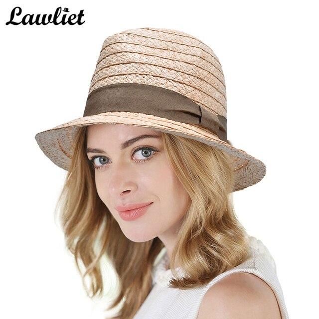 eb6a35f2 Summer Wide Brim Sun Hats Women Fedoras Hat Raffia Woven Straw Hats Sun  Protection Beach Street Cap Floppy Derby Jazz Lady Hats