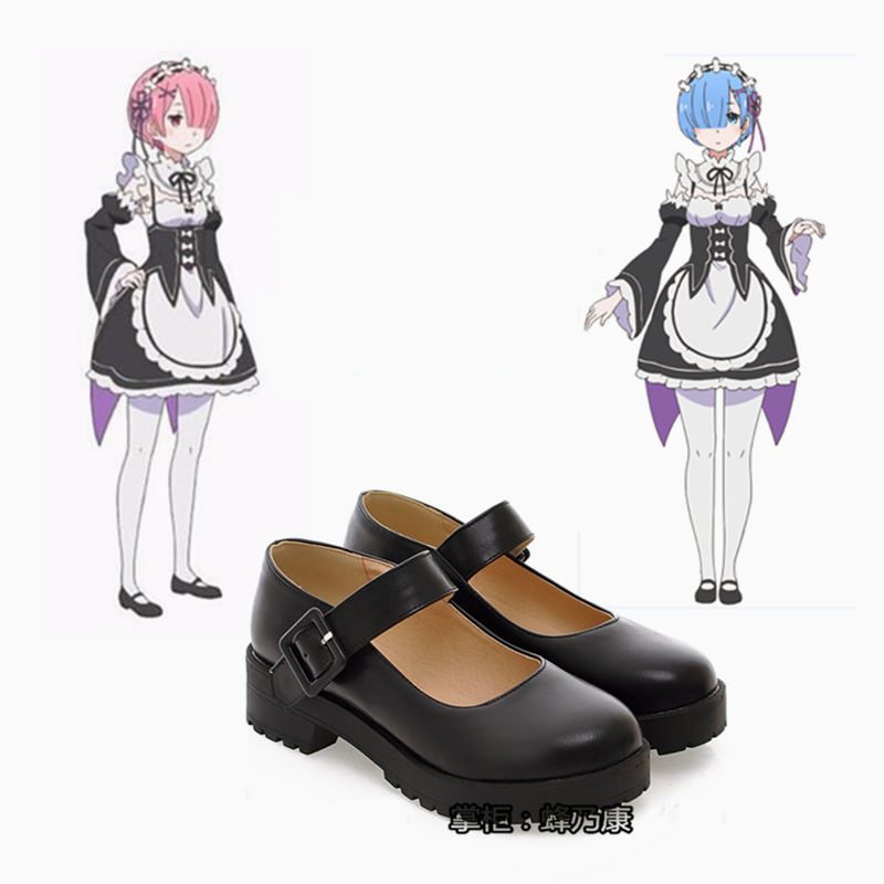 Anime Re:Zero kara Hajimeru Isekai Seikatsu Ram Rem Kasugano Sora Cosplay Shoes Women Maid Black Leather Flat Low Heel Shoes