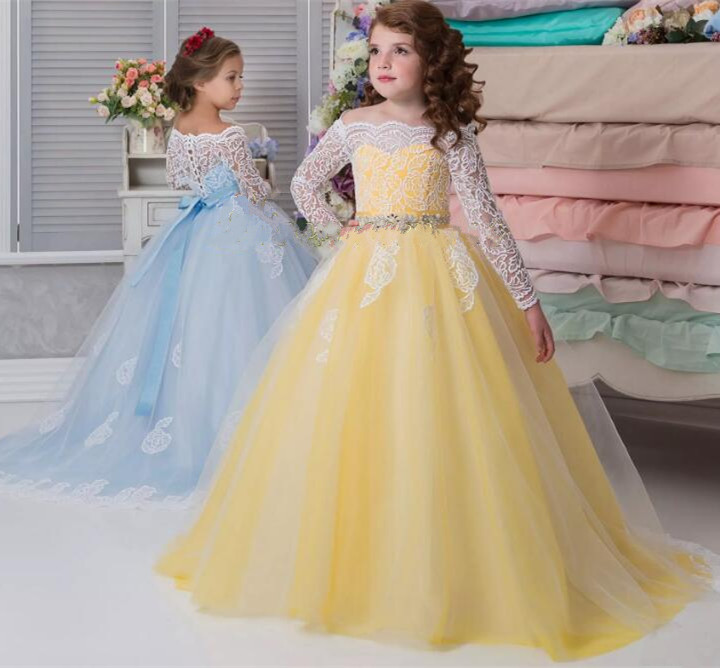 Long Sleeves Lace Ball Gown Flower Girl Dresses Puffy Tulle for Wedding Little Girl Pageant First Communion Dress lovely new puffy flower girl dresses beaded overskirts floor length first communion dress pageant birthday gown 2017 custom new