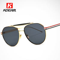 Tricolor Stripes Aviator Sunglasses For Women Circular Wire Frame Sunglass In Double Bridge Pink Glasses With