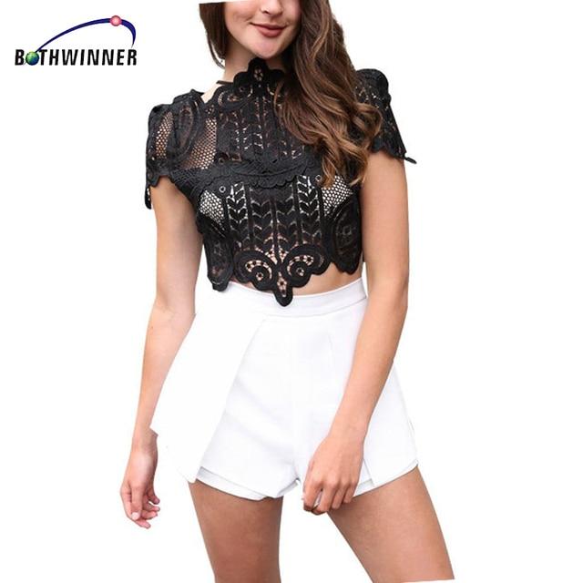 Bothwinner Estilo Elegante Negro Lace Crochet Cosecha de Verano ...