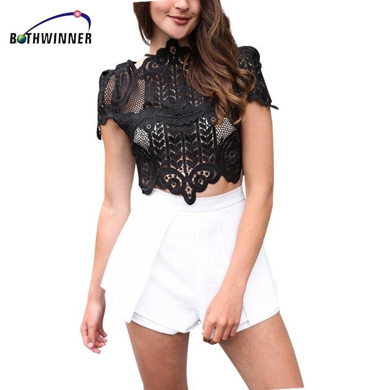 Bothwinner Summer Style Elegant Black Lace Crochet Crop Top Girls Short Sleeve White Women Sexy Hollow Out Tank Tops
