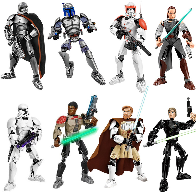 hot Wars Finn Rey Poe Jango Fett Darth Vader Buildable Action Figure Model Building Blocks Toy Compatible with Lgoinglys JM228