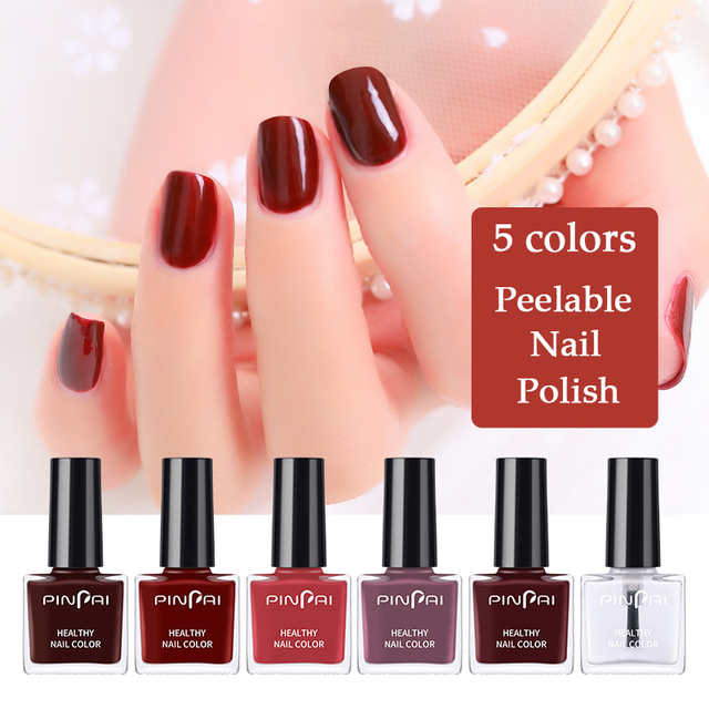 PinPai 6ml Water Based Peel Off Nail Polish Long Lasting Easy Remove Nail Paint Lacquer Enviromental Manicure Red Color Varnish 1