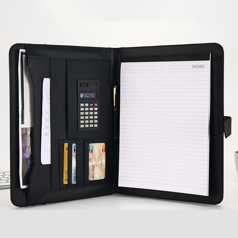 A4 File Organizer Portfolio Folder Document Bags PU Leather Notepad Multi-function Card Holder Pen File Clip Calculator Memo