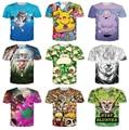 Cute casual cartoon print 3d t shirt men/women huskies/pikachu pokemon/resident evil zombie/adventure time t-shirt tees tops