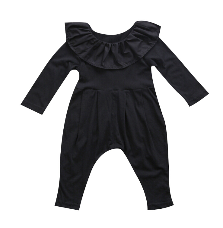 все цены на Newborn Infant Baby Girls Clothes Ruffle Collar Long Sleeve Romper Black Cute Clothing Baby Girl Outfits