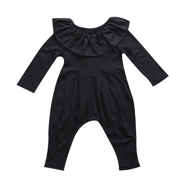 272f8b41d130 Newborn Infant Baby Girls Clothes Ruffle Collar Long Sleeve Romper ...