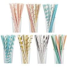 25 шт., одноразовые бумажные соломинки, креативные соломинки для питья, украшения для вечеринки в честь Дня Рождения, для детей, для вечеринки в честь свадьбы