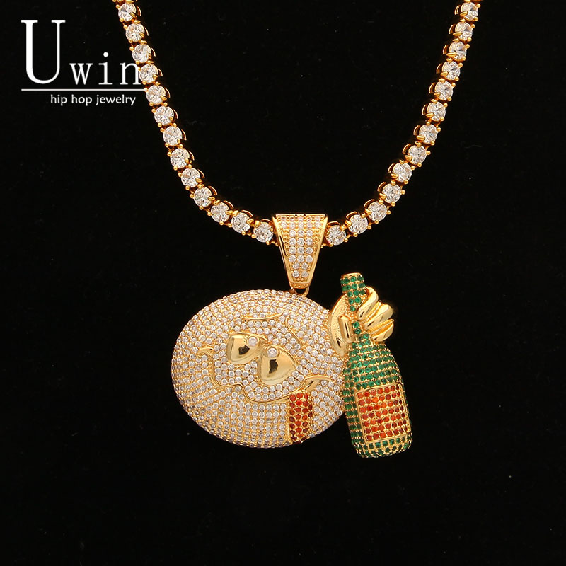 UWIN Emoji Face Drink Pendant AAA CZ Bling Iced Out Champagn Micro Paved Hip hop Necklace Tennis Chain Men's Hiphop Jewelry uwin iced out aaa zircon cross pendant copper material bling cz men s hip hop pendant necklace for women fashion hiphop jewelry