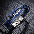 Wholesale 2016 new fashion fine jewelry cool men blue leather charm bracelet male retro braided bracelets New Year gifts LPH879
