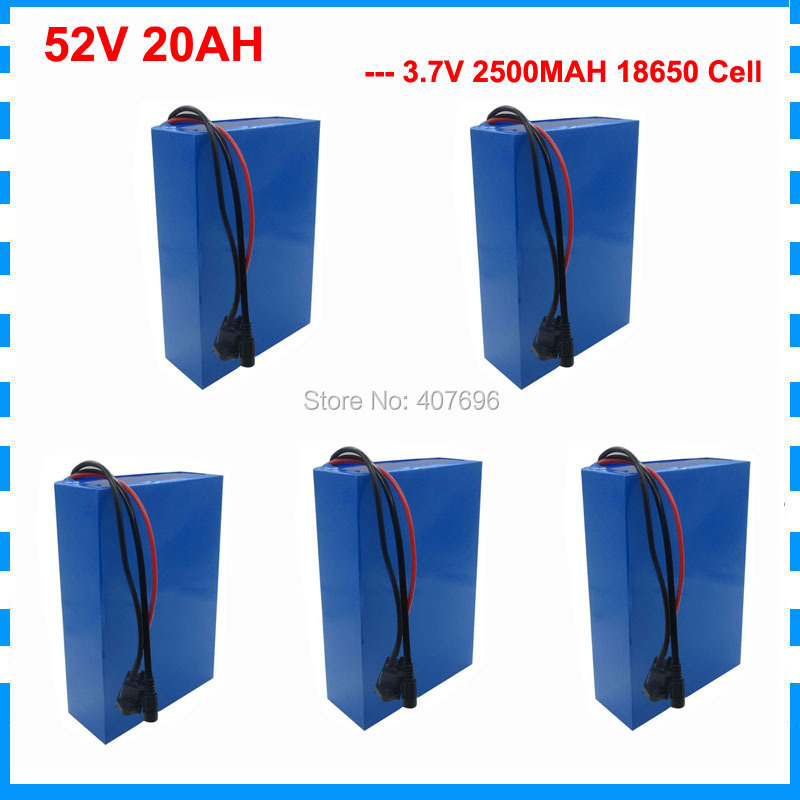 5PCS Wholesale 1500W 52V lithium ion battery 51.8V 52V 20AH electric bike battery use 3.7V 2500mah Cell with 30A BMS 2A Charger