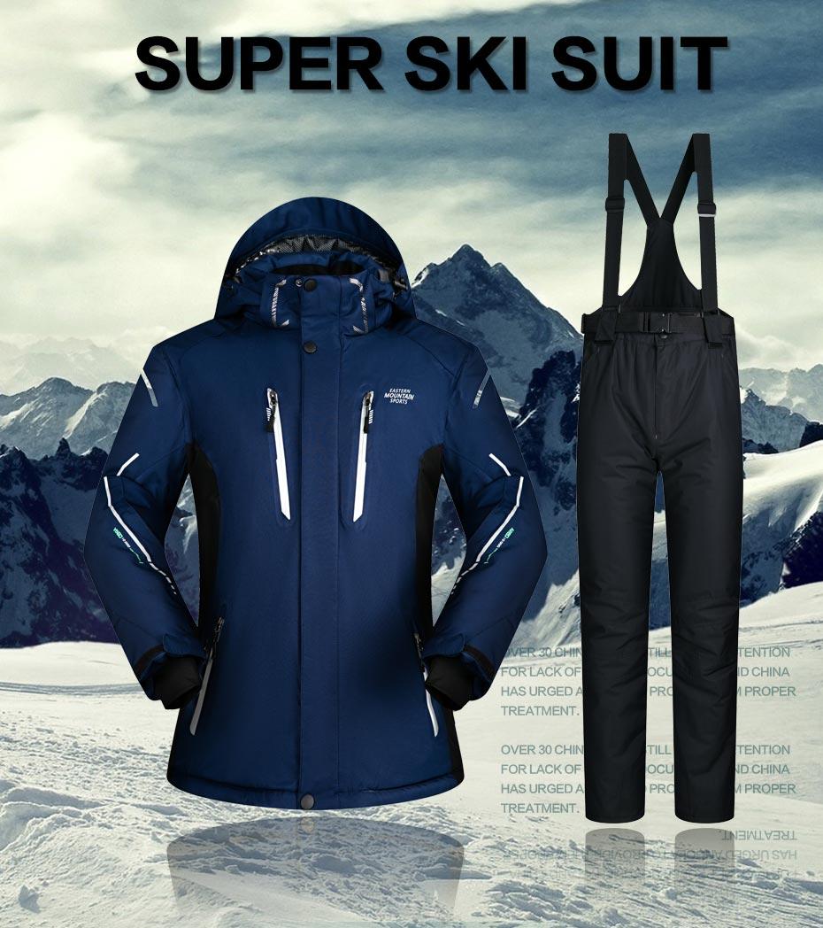 Men Waterproof Windproof Thicken Warm Ski Set