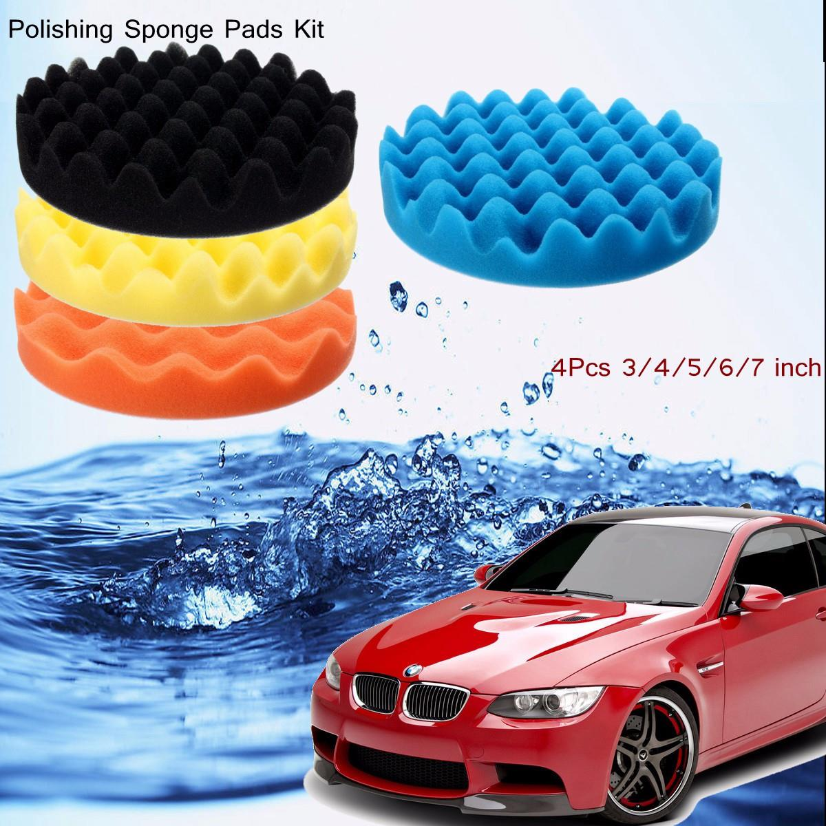 4Pcs 3 / 4 / 5 / 6 / 7 Inch Buffing Polishing Sponge Pads
