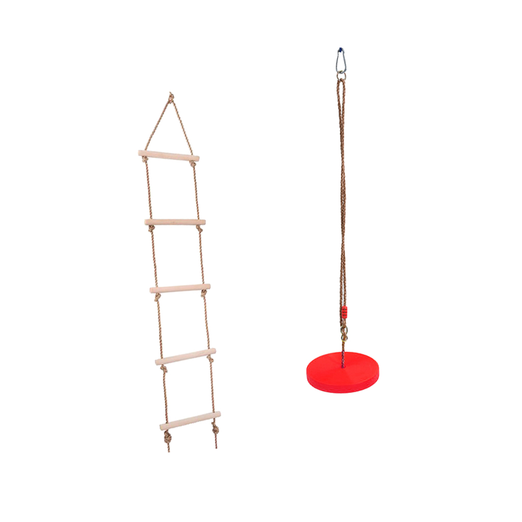 Kids Outdoor Tree Hanging Disc Rope Swing Climbing Ladder for Garden Park Playground Playing Red