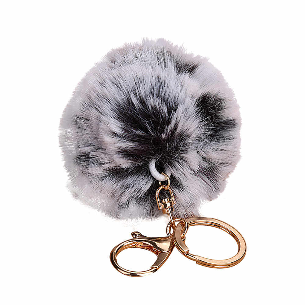 OTOKY 2018 Hot Sale Multicolor 8CM Cute Keychain Pendant Women Key Ring Holder Pompoms Key Chains   Apr12