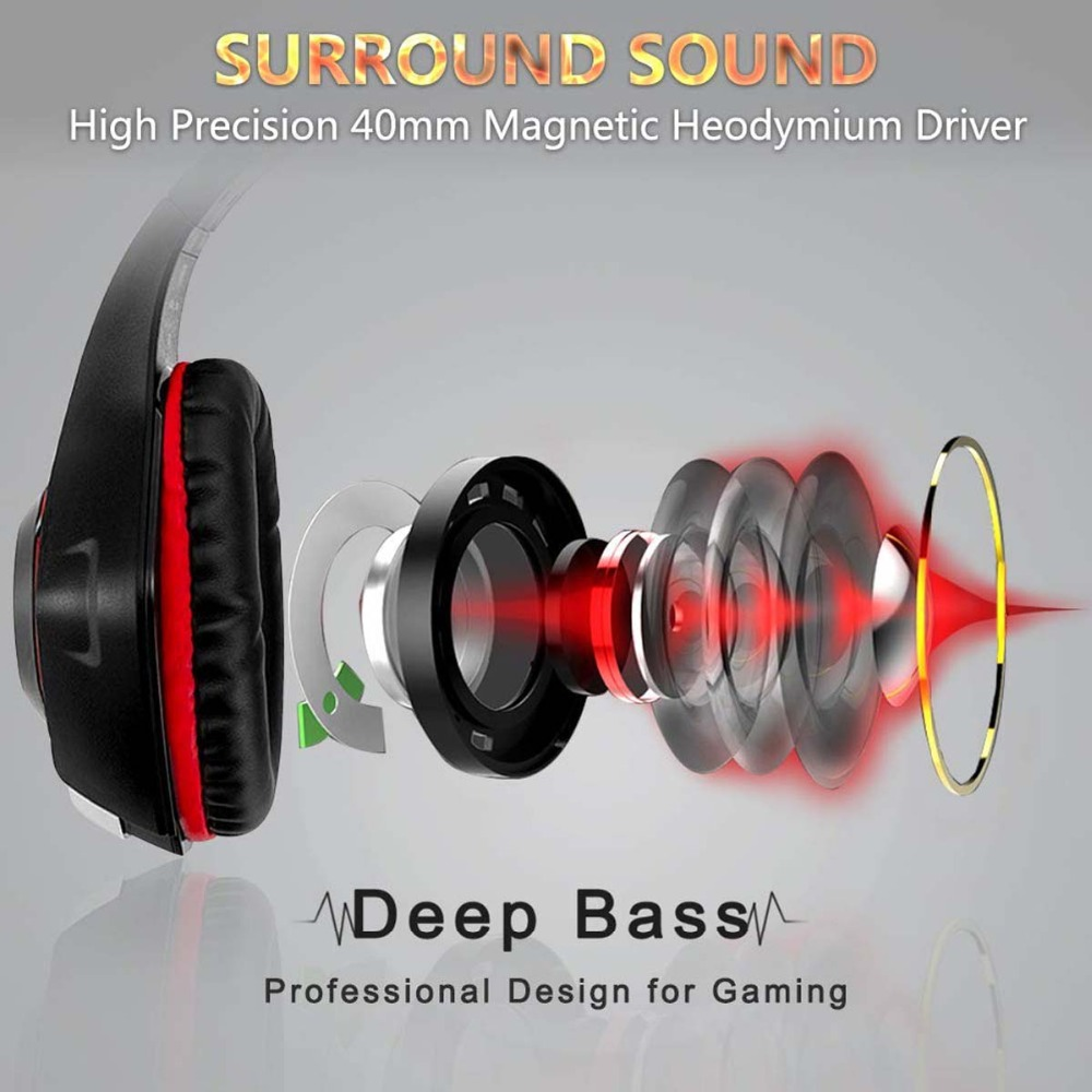 Beexcellent Stereo Gaming Headset Casque Deep Bass Stereo Game Headphone with Mic LED Light for PS
