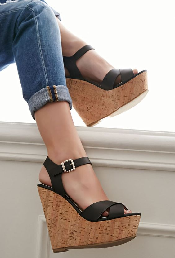 Female Sandals Shoes Wedge Platform Leather Ladies Buckle Sandals High Heels Straps Sandals For Women Summer new 2018 summer women sandals platform heel leather comfortable wedge shoes ladies casual sandals
