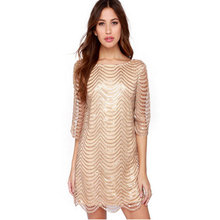 MAYFULL Women Golden Wave Sequin Lace Dress Female  Backless Bla Sheer Shift Dresses Cut Out Sequin Mesh Straight Dress Vestidos
