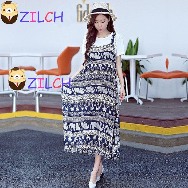 Korean Summer Print Short Sleeve Two-pieces Dress and T-shirt Pregnant Women Dress Skirt Harness Dress