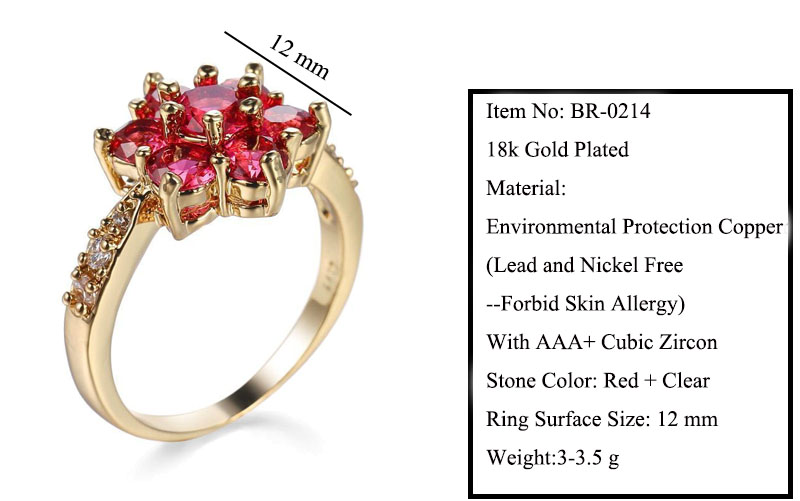 ff0af6ecc562b MxGxFam Red Flower Rings For Women Romantic Style 18 k G P Gold color Hot  jewelry AAA+ Cubic Zircon