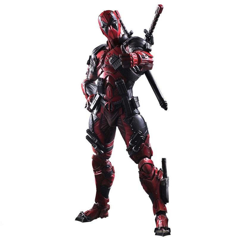 все цены на 26cm Crazy Toys Deadpool Figure X-MEN Play Arts Dead Pool Deadpool PVC Action Figures Resin Collection Model Toy Gifts L1078 онлайн
