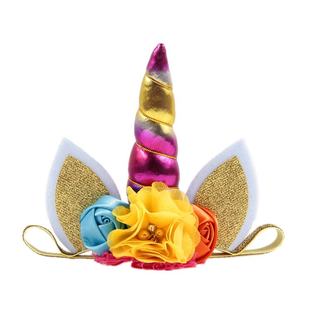c078451084d 12pc lot Unicorn Headband For Girls Glitter Padded Unicorn Horn Elastic  Headbands Kids Girls Unicorn Party Hair Accessories
