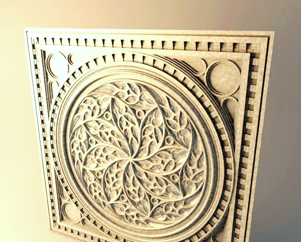 Plate d relief model in stl format cnc router carving