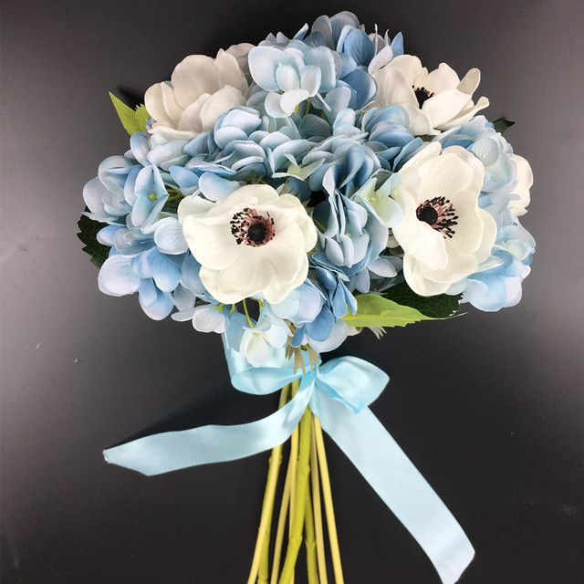 Exclusive Sales 10pcs Blue Hydrangea+White Anemone Pasque Flower ...