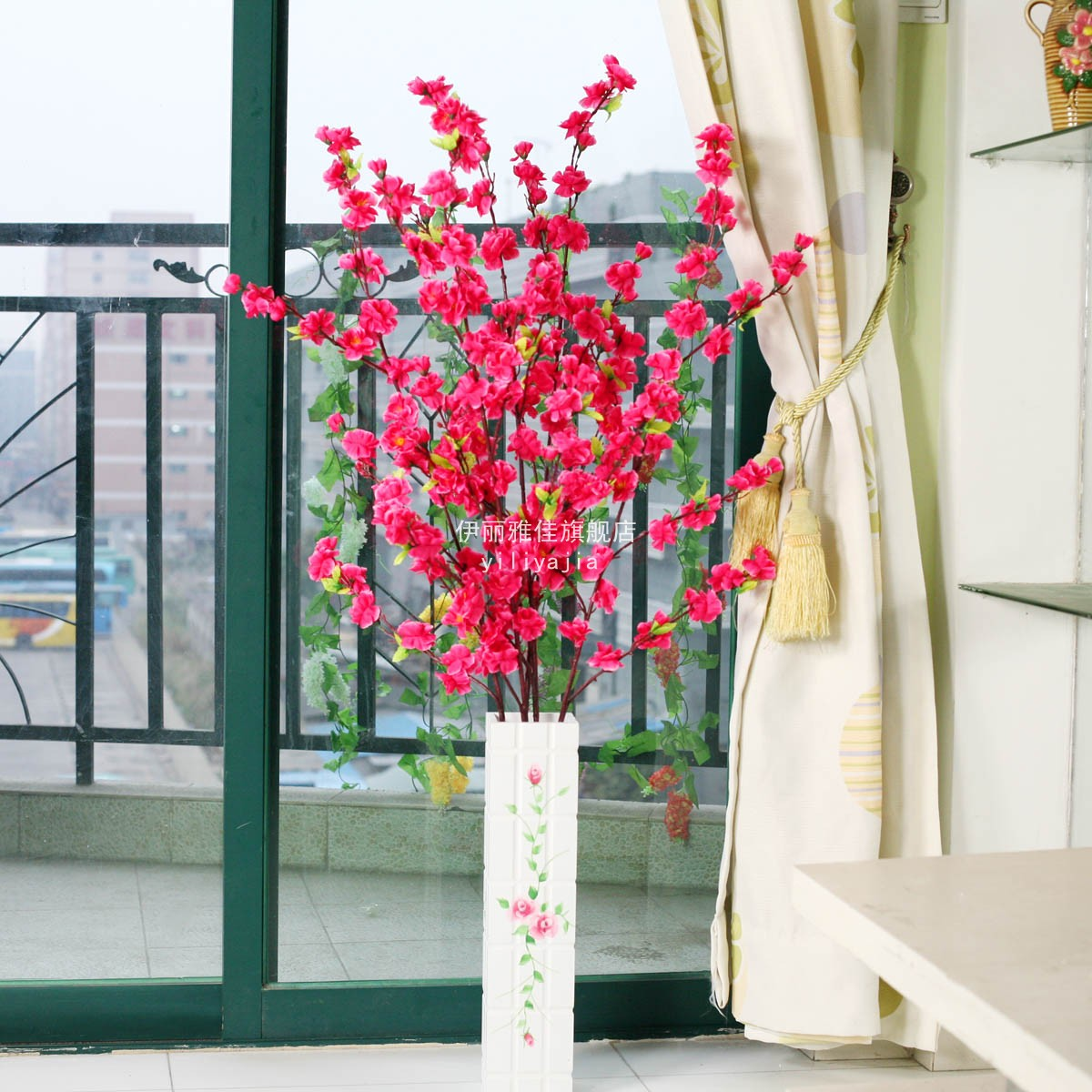 Peach blossom artificial flower living room dining table for Artificial plants for decoration