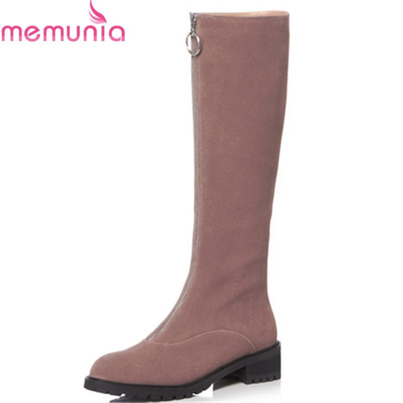 Bout Femmes Memunia Automne Qualité Noir Talons Genou Bottes De Cuir Top rose Haute Rond Suède Chaussures 2018 En Carré Vache Hiver zzfvqwrF