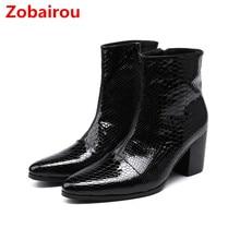 Zobairou bota masculina/Мужская обувь из натуральной лакированной кожи черного цвета зимние ботинки в стиле милитари на высоком каблуке ковбойские сапоги мужские челси